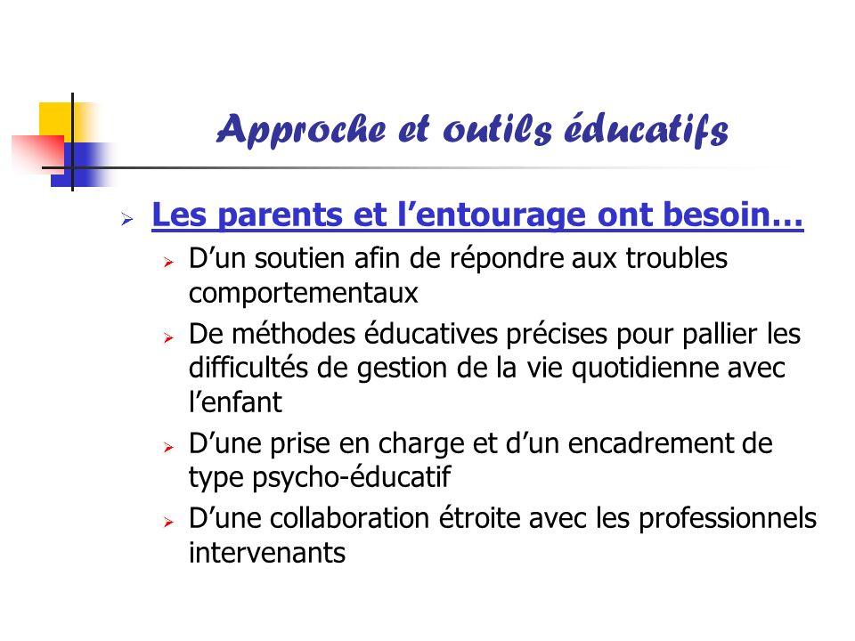 Approche et outils éducatifs Les parents et lentourage ont besoin… Dun soutien afin de répondre aux troubles comportementaux De méthodes éducatives pr