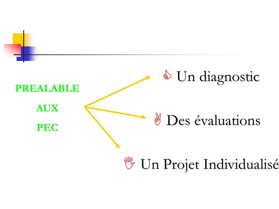 PREALABLE AUX PEC Un diagnostic Un diagnostic Des évaluations Des évaluations Un Projet Individualisé Un Projet Individualisé