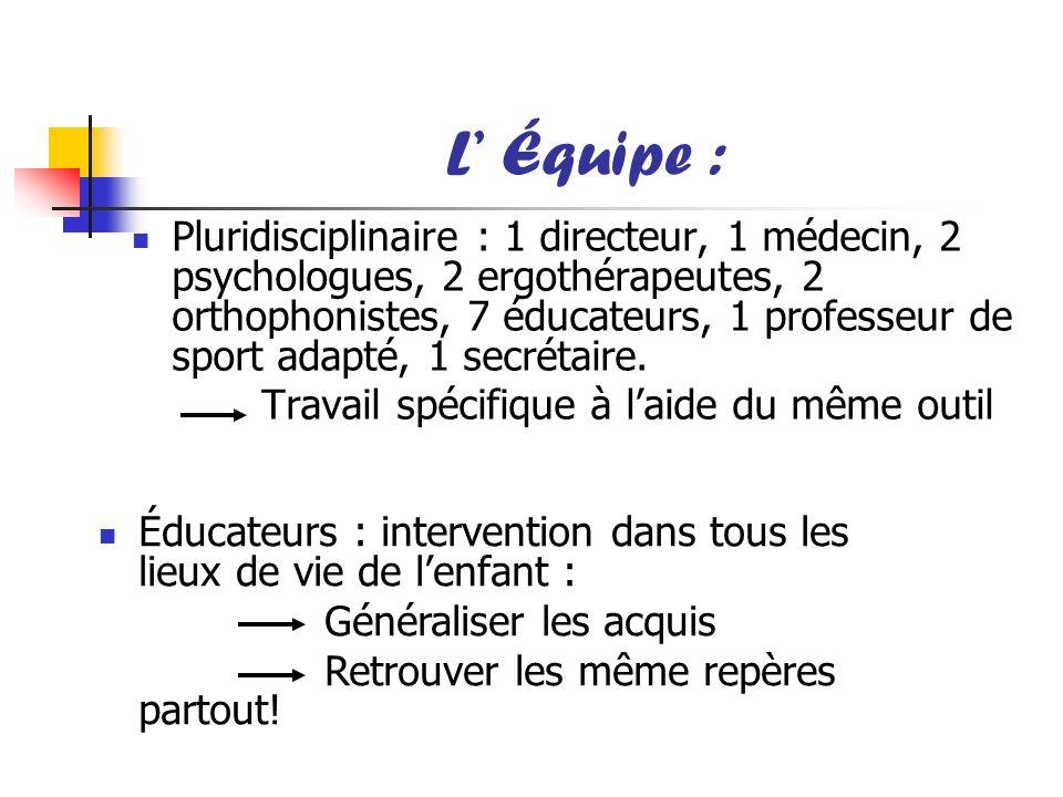 L Équipe : Pluridisciplinaire : 1 directeur, 1 médecin, 2 psychologues, 2 ergothérapeutes, 2 orthophonistes, 7 éducateurs, 1 professeur de sport adapt