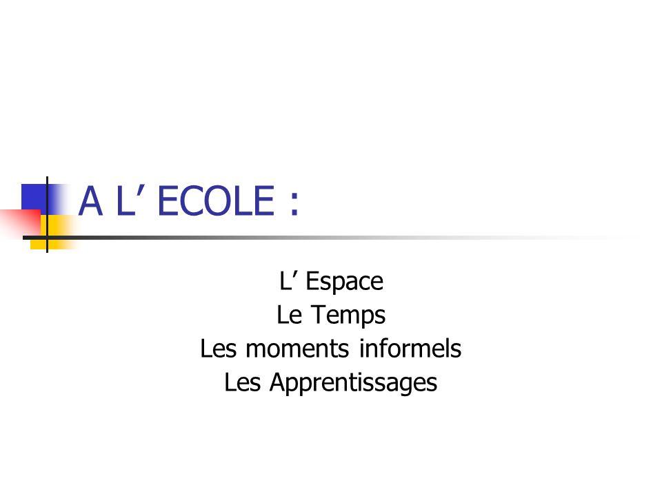 A L ECOLE : L Espace Le Temps Les moments informels Les Apprentissages