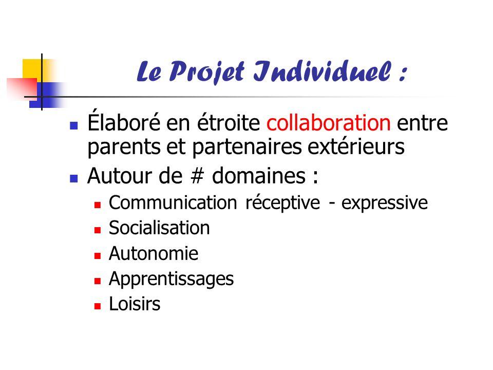 Le Projet Individuel : Élaboré en étroite collaboration entre parents et partenaires extérieurs Autour de # domaines : Communication réceptive - expre