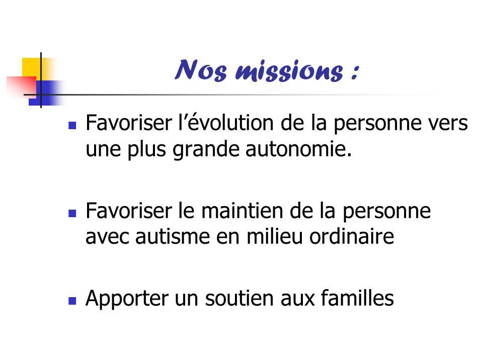 Nos missions : Favoriser lévolution de la personne vers une plus grande autonomie. Favoriser le maintien de la personne avec autisme en milieu ordinai
