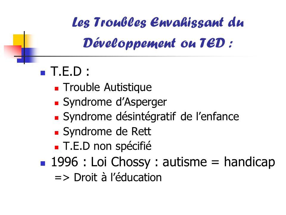Les Troubles Envahissant du Développement ou TED : T.E.D : Trouble Autistique Syndrome dAsperger Syndrome désintégratif de lenfance Syndrome de Rett T