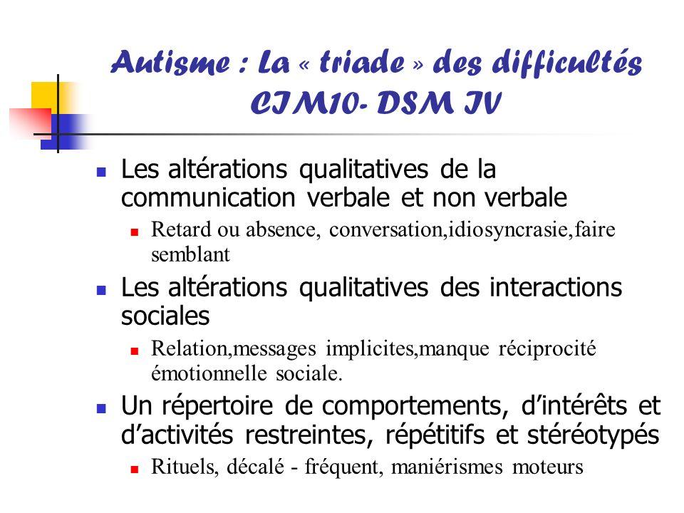 Autisme : La « triade » des difficultés CIM10- DSM IV Les altérations qualitatives de la communication verbale et non verbale Retard ou absence, conve