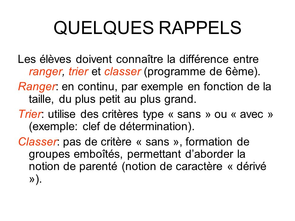 QUELQUES RAPPELS Les élèves doivent connaître la différence entre ranger, trier et classer (programme de 6ème). Ranger: en continu, par exemple en fon