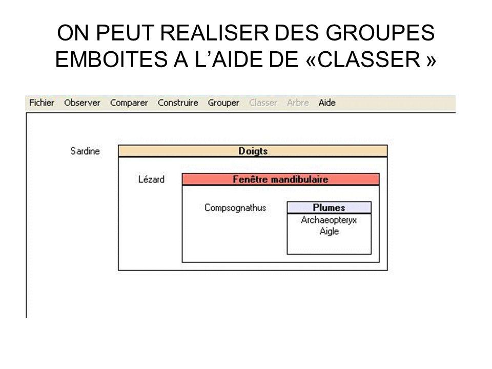 ON PEUT REALISER DES GROUPES EMBOITES A LAIDE DE «CLASSER »