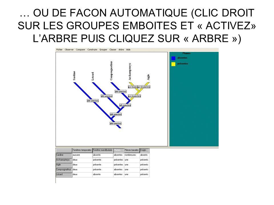 … OU DE FACON AUTOMATIQUE (CLIC DROIT SUR LES GROUPES EMBOITES ET « ACTIVEZ» LARBRE PUIS CLIQUEZ SUR « ARBRE »)