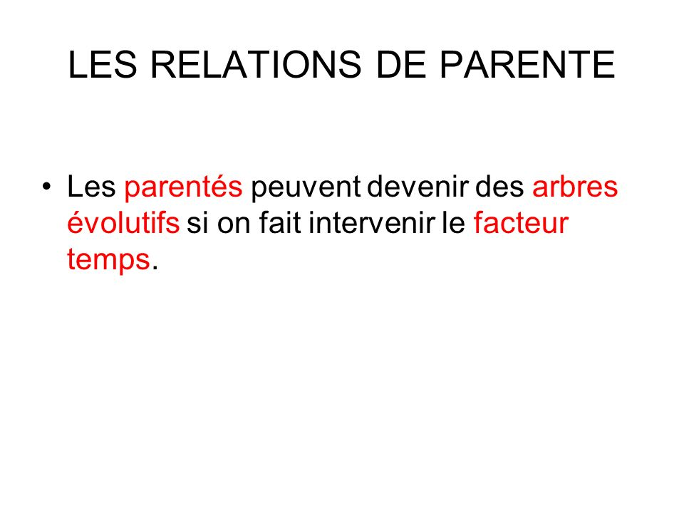 LES RELATIONS DE PARENTE Les parentés peuvent devenir des arbres évolutifs si on fait intervenir le facteur temps.