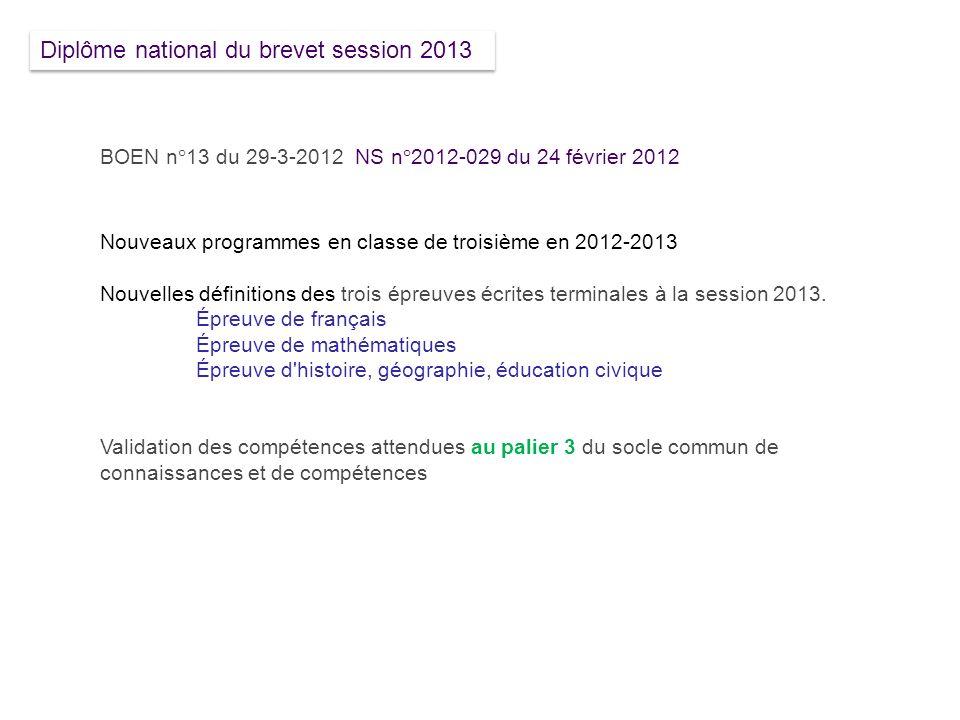 BOEN n°13 du 29-3-2012 NS n°2012-029 du 24 février 2012 Nouveaux programmes en classe de troisième en 2012-2013 Nouvelles définitions des trois épreuv