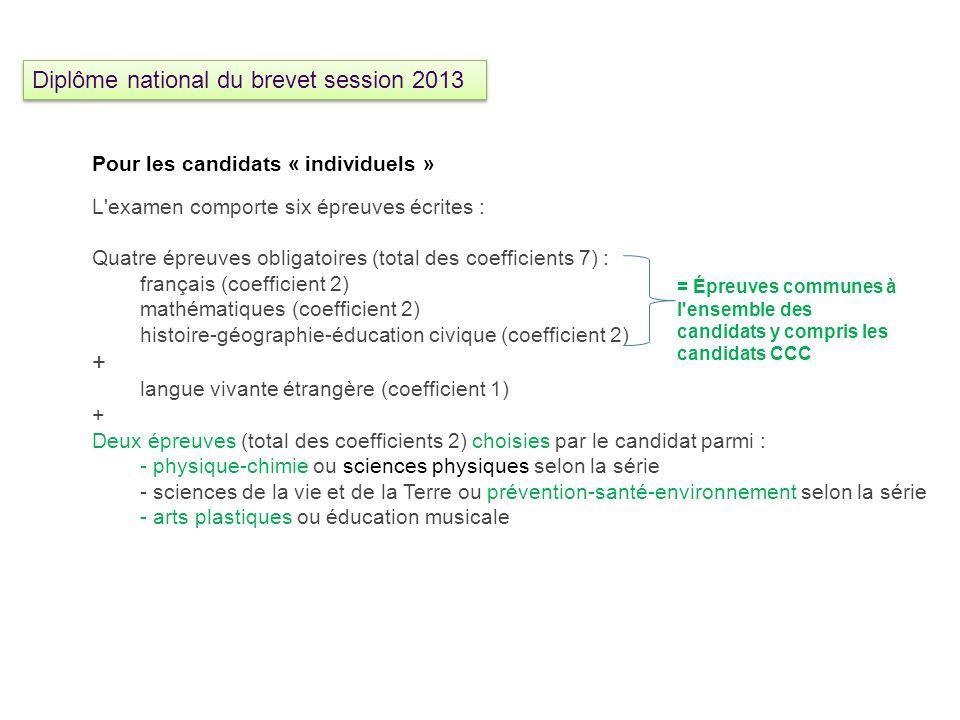 Pour les candidats « individuels » L'examen comporte six épreuves écrites : Quatre épreuves obligatoires (total des coefficients 7) : français (coeffi