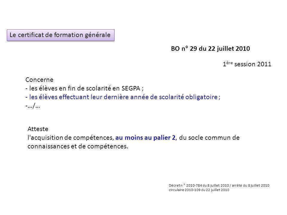 Le certificat de formation générale Concerne - les élèves en fin de scolarité en SEGPA ; - les élèves effectuant leur dernière année de scolarité obli