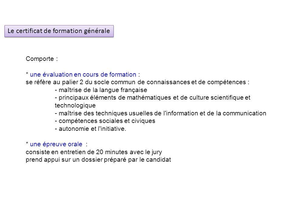 Comporte : * une évaluation en cours de formation : se réfère au palier 2 du socle commun de connaissances et de compétences : - maîtrise de la langue