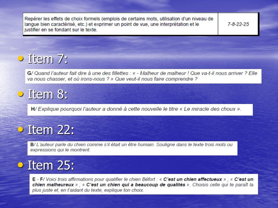 Item 7: Item 7: Item 8: Item 8: Item 22: Item 22: Item 25: Item 25:
