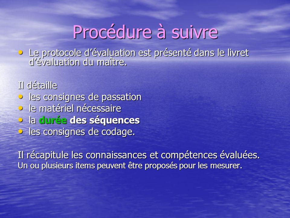 Procédure à suivre Le protocole dévaluation est présenté dans le livret dévaluation du maître. Le protocole dévaluation est présenté dans le livret dé