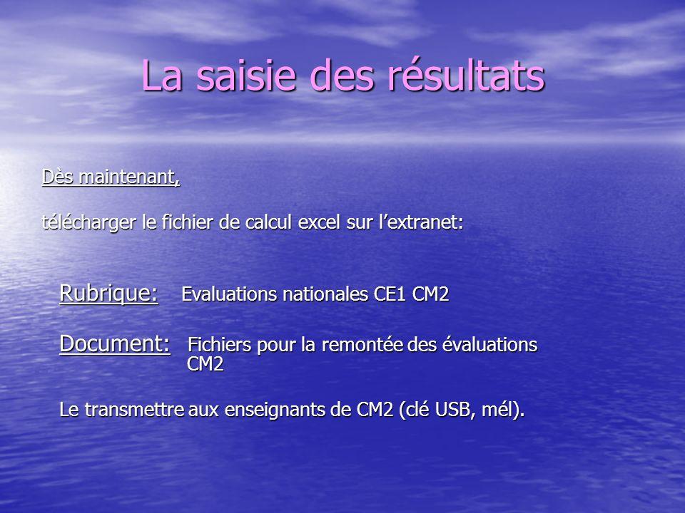 La saisie des résultats Dès maintenant, télécharger le fichier de calcul excel sur lextranet: Rubrique: Evaluations nationales CE1 CM2 Rubrique: Evalu