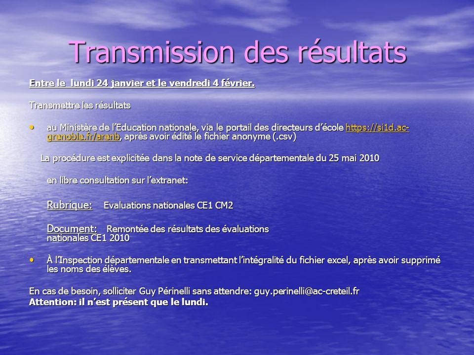 Transmission des résultats Entre le lundi 24 janvier et le vendredi 4 février. Transmettre les résultats au Ministère de lEducation nationale, via le