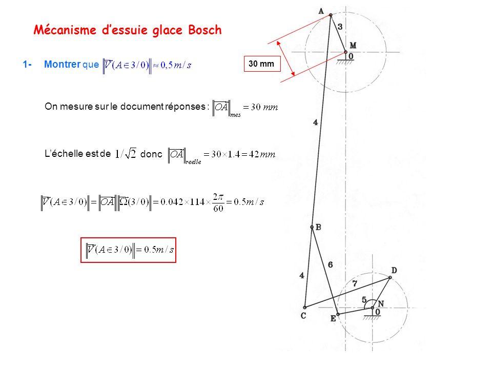 On mesure sur le document réponses : Mécanisme dessuie glace Bosch 1- Montrer que 30 mm Léchelle est de donc