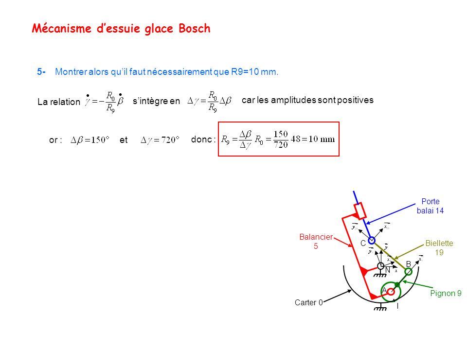 Mécanisme dessuie glace Bosch Porte balai 14 Balancier 5 Biellette 19 I Carter 0 Pignon 9 C B A N 5- Montrer alors quil faut nécessairement que R9=10