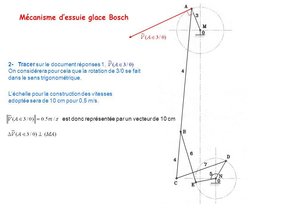 Mécanisme dessuie glace Bosch 2- Tracer sur le document réponses 1, On considérera pour cela que la rotation de 3/0 se fait dans le sens trigonométriq