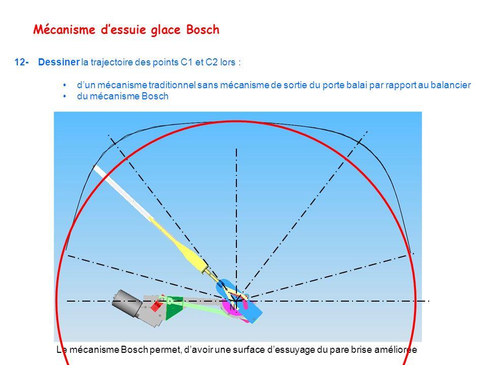 Mécanisme dessuie glace Bosch 12- Dessiner la trajectoire des points C1 et C2 lors : dun mécanisme traditionnel sans mécanisme de sortie du porte bala