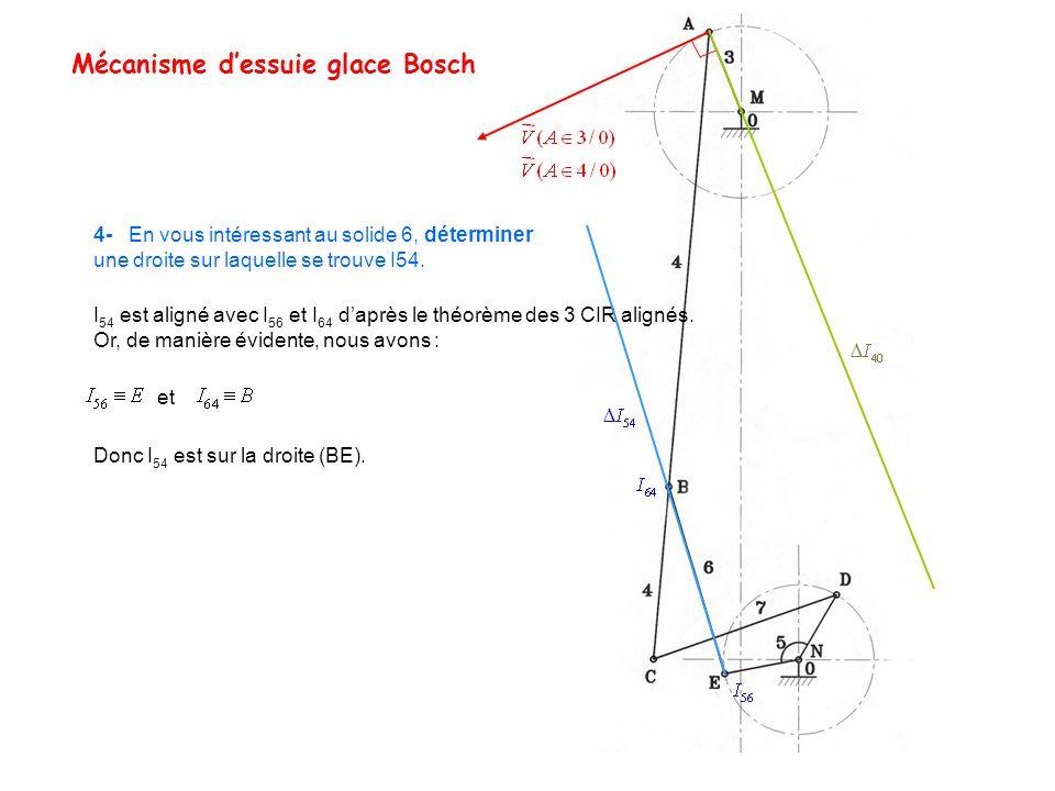 Mécanisme dessuie glace Bosch 4- En vous intéressant au solide 6, déterminer une droite sur laquelle se trouve I54. I 54 est aligné avec I 56 et I 64