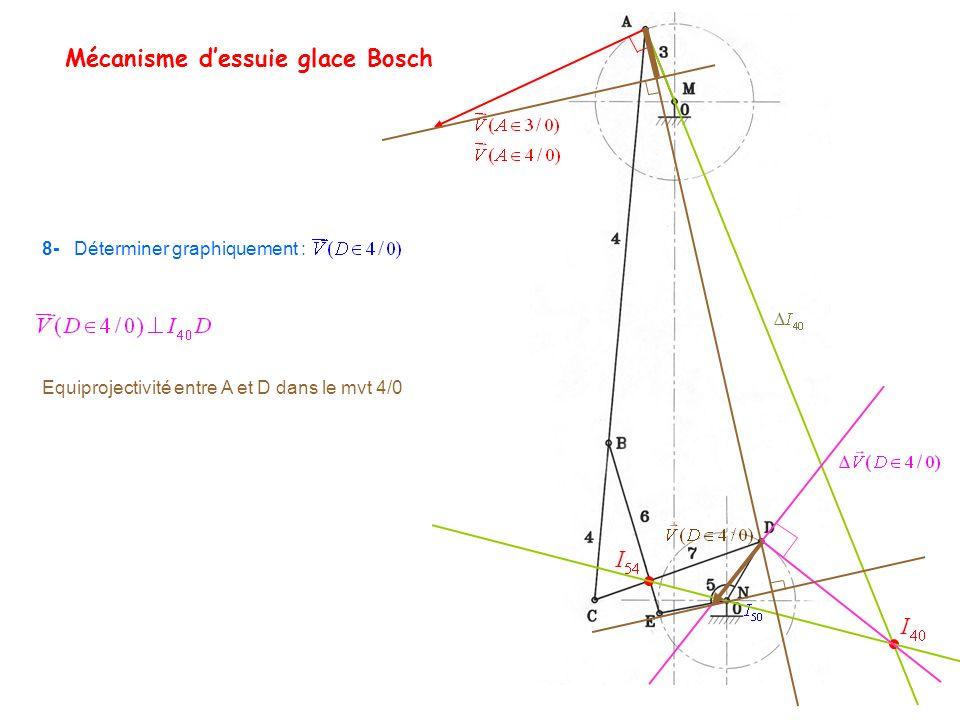Mécanisme dessuie glace Bosch 9- Déterminer graphiquement est orthogonale à (I 50 D)=(ND) est orthogonale à (I 45 D).