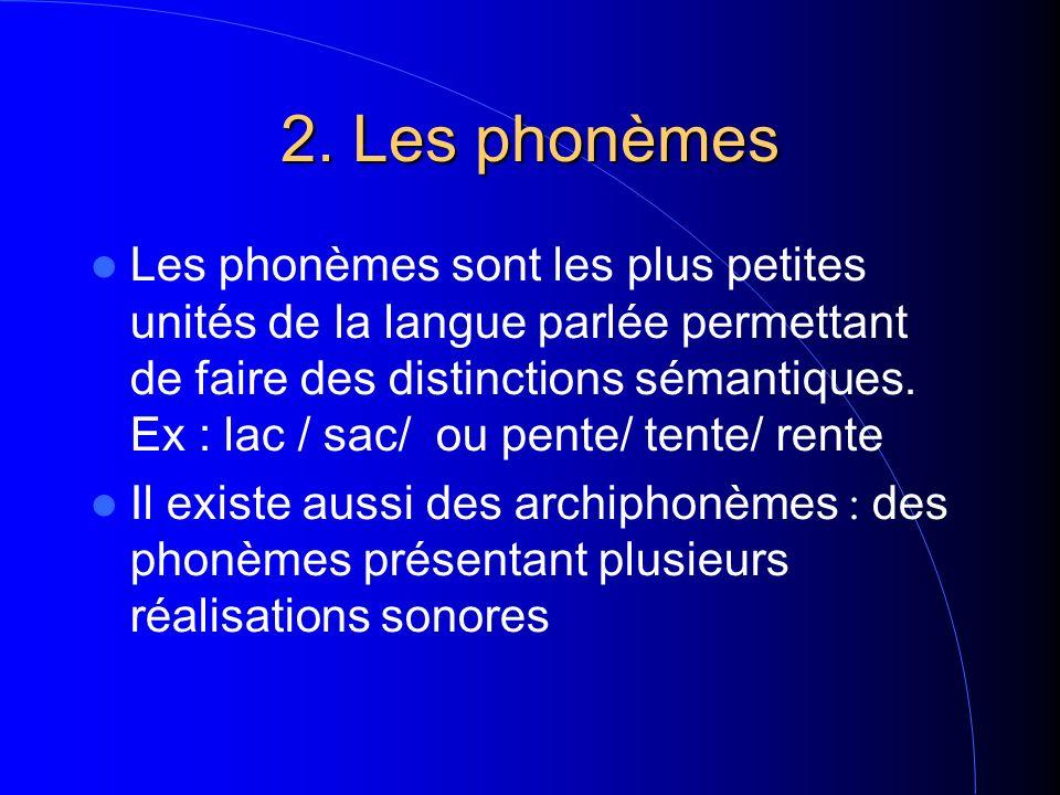 2. Les phonèmes Les phonèmes sont les plus petites unités de la langue parlée permettant de faire des distinctions sémantiques. Ex : lac / sac/ ou pen