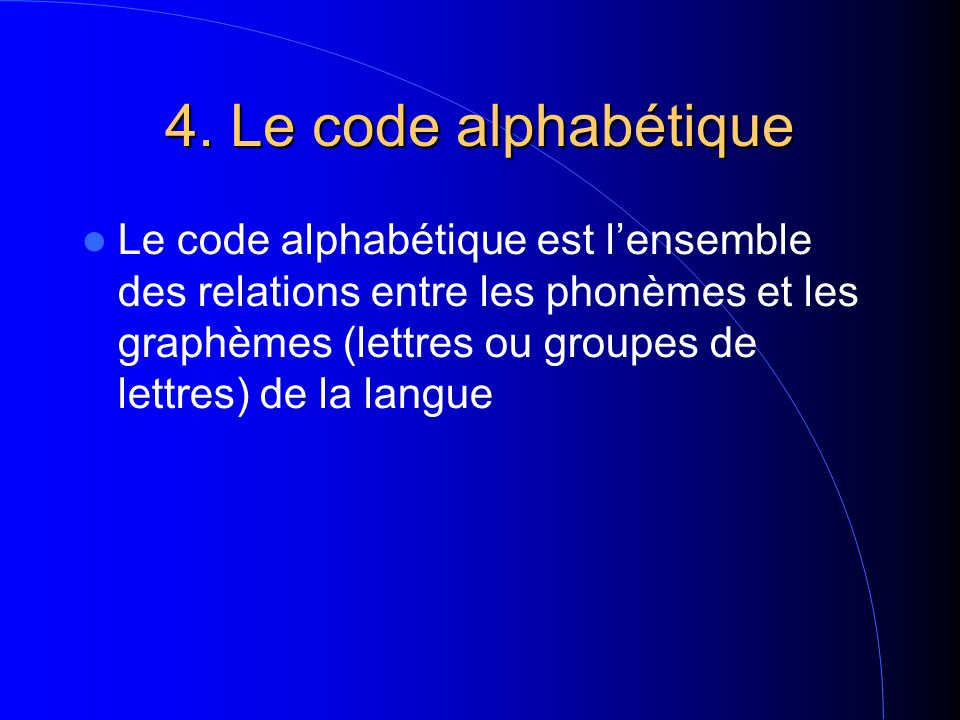 4. Le code alphabétique Le code alphabétique est lensemble des relations entre les phonèmes et les graphèmes (lettres ou groupes de lettres) de la lan