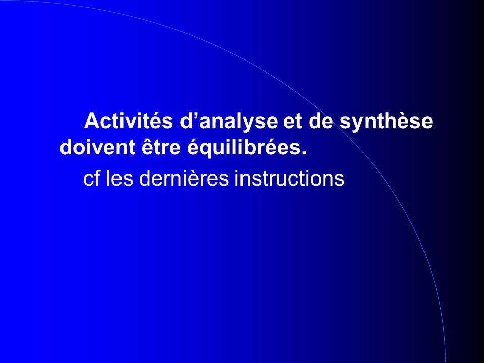 Activités danalyse et de synthèse doivent être équilibrées. cf les dernières instructions