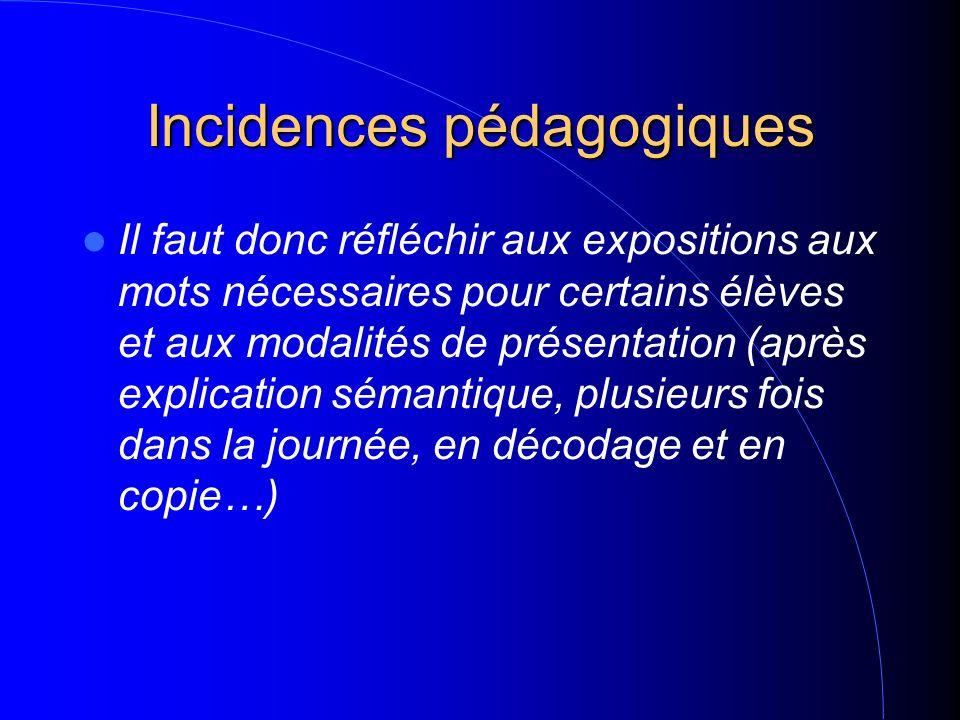 Incidences pédagogiques Il faut donc réfléchir aux expositions aux mots nécessaires pour certains élèves et aux modalités de présentation (après expli