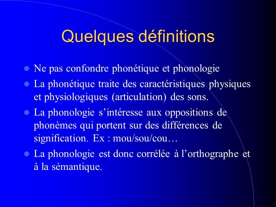 Quelques définitions Ne pas confondre phonétique et phonologie La phonétique traite des caractéristiques physiques et physiologiques (articulation) des sons.