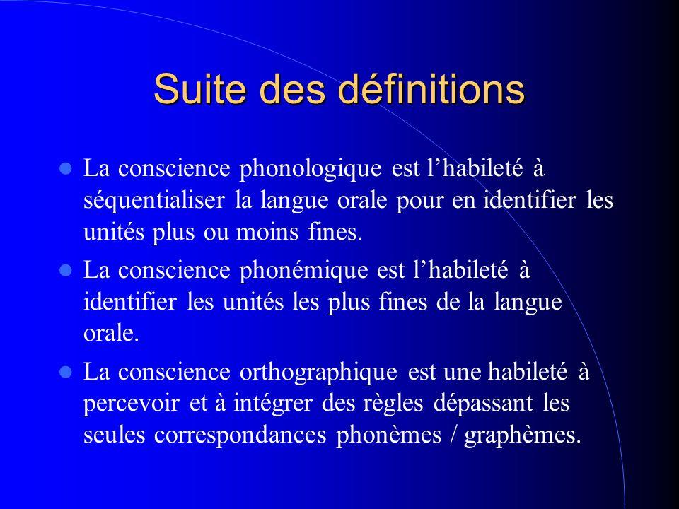 Suite des définitions La conscience phonologique est lhabileté à séquentialiser la langue orale pour en identifier les unités plus ou moins fines. La