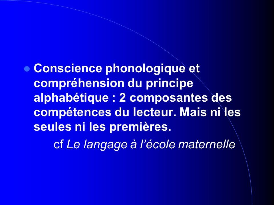Conscience phonologique et compréhension du principe alphabétique : 2 composantes des compétences du lecteur. Mais ni les seules ni les premières. cf