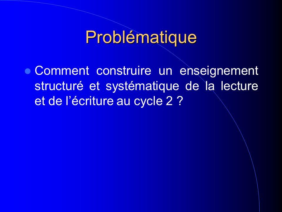 Problématique Comment construire un enseignement structuré et systématique de la lecture et de lécriture au cycle 2 ?