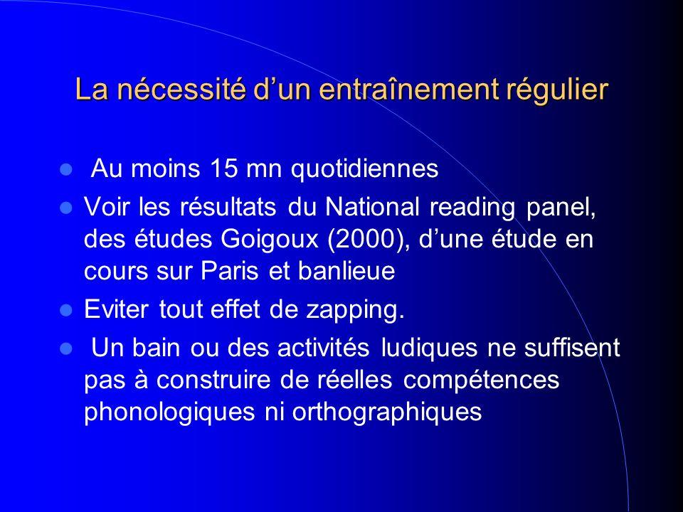 La nécessité dun entraînement régulier Au moins 15 mn quotidiennes Voir les résultats du National reading panel, des études Goigoux (2000), dune étude en cours sur Paris et banlieue Eviter tout effet de zapping.