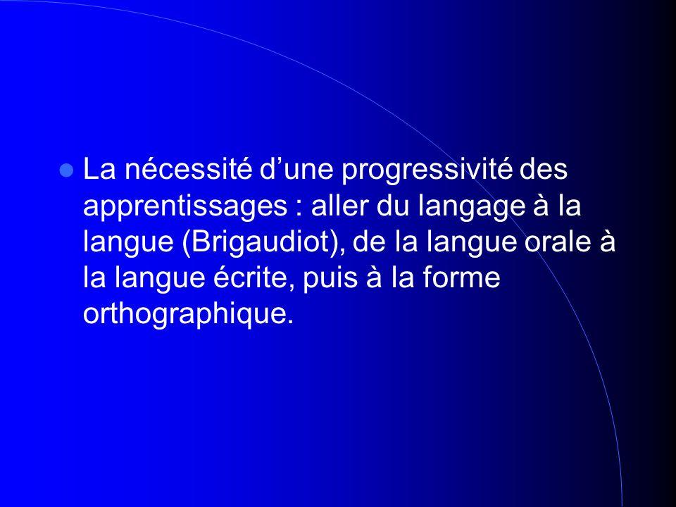 La nécessité dune progressivité des apprentissages : aller du langage à la langue (Brigaudiot), de la langue orale à la langue écrite, puis à la forme orthographique.