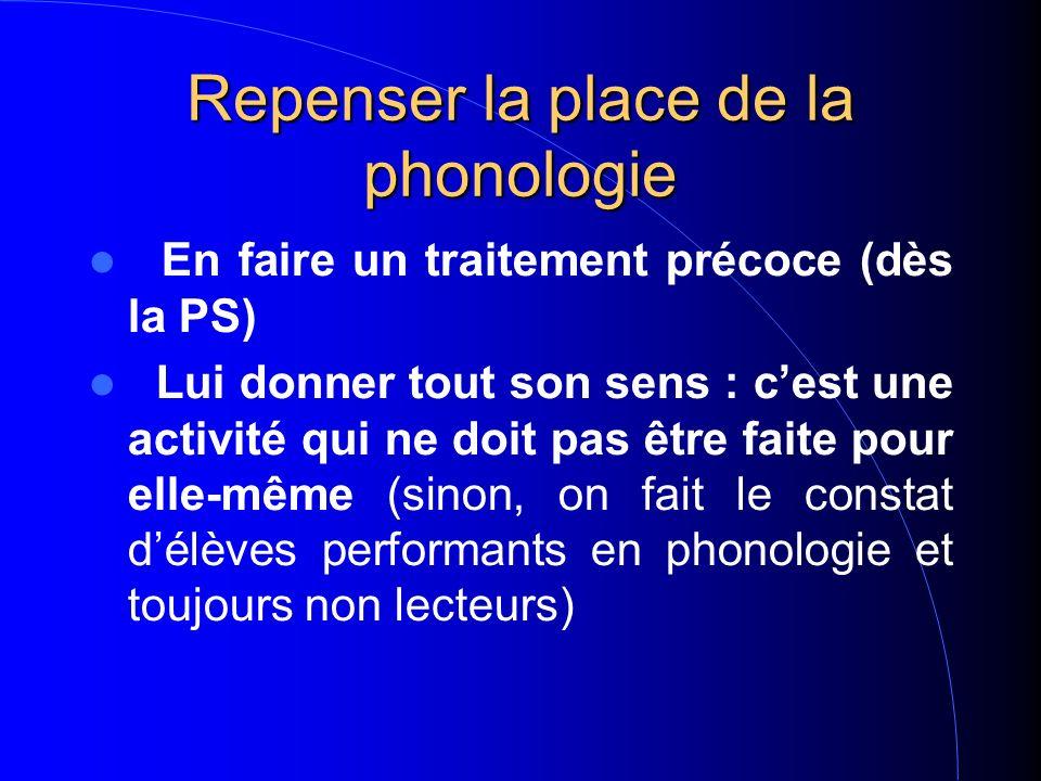 Repenser la place de la phonologie En faire un traitement précoce (dès la PS) Lui donner tout son sens : cest une activité qui ne doit pas être faite