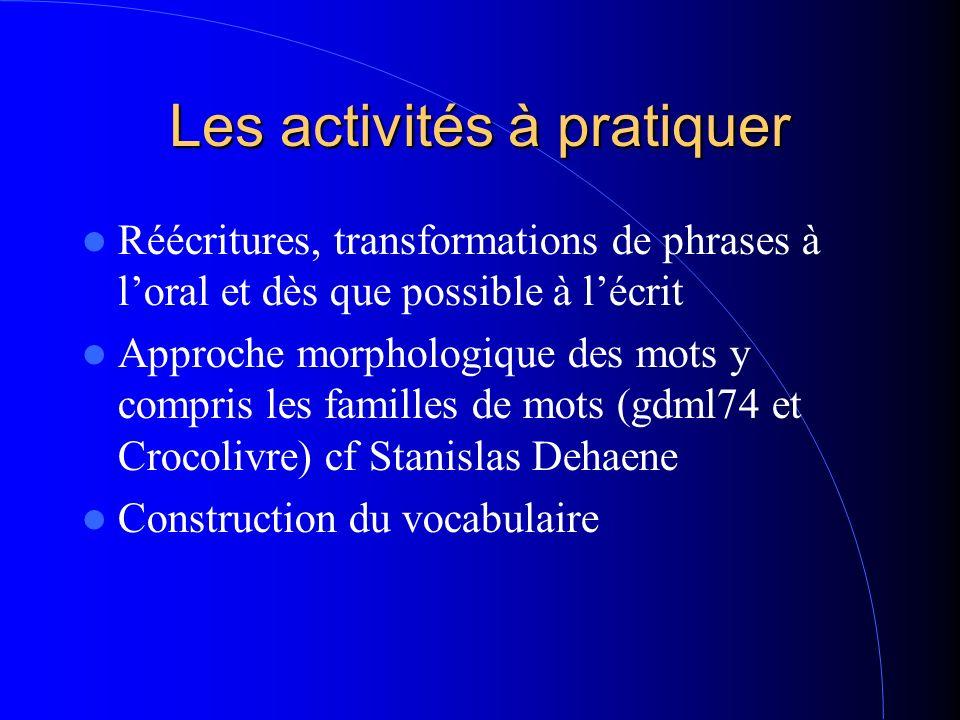 Les activités à pratiquer Réécritures, transformations de phrases à loral et dès que possible à lécrit Approche morphologique des mots y compris les f