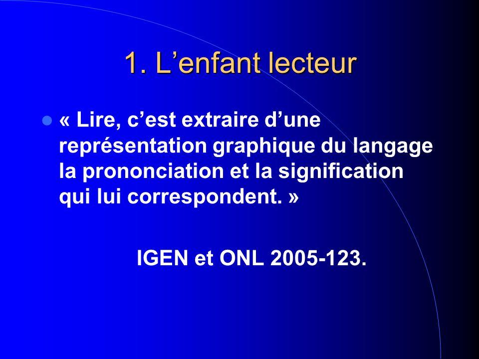 1. Lenfant lecteur « Lire, cest extraire dune représentation graphique du langage la prononciation et la signification qui lui correspondent. » IGEN e