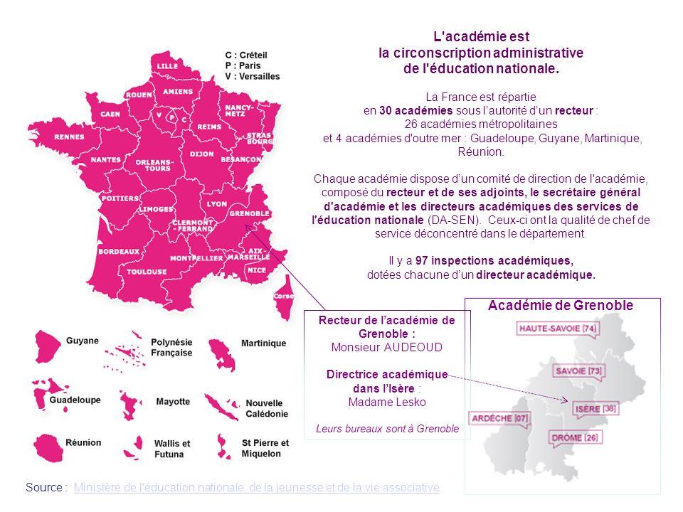 L'académie est la circonscription administrative de l'éducation nationale. La France est répartie en 30 académies sous lautorité dun recteur : 26 acad