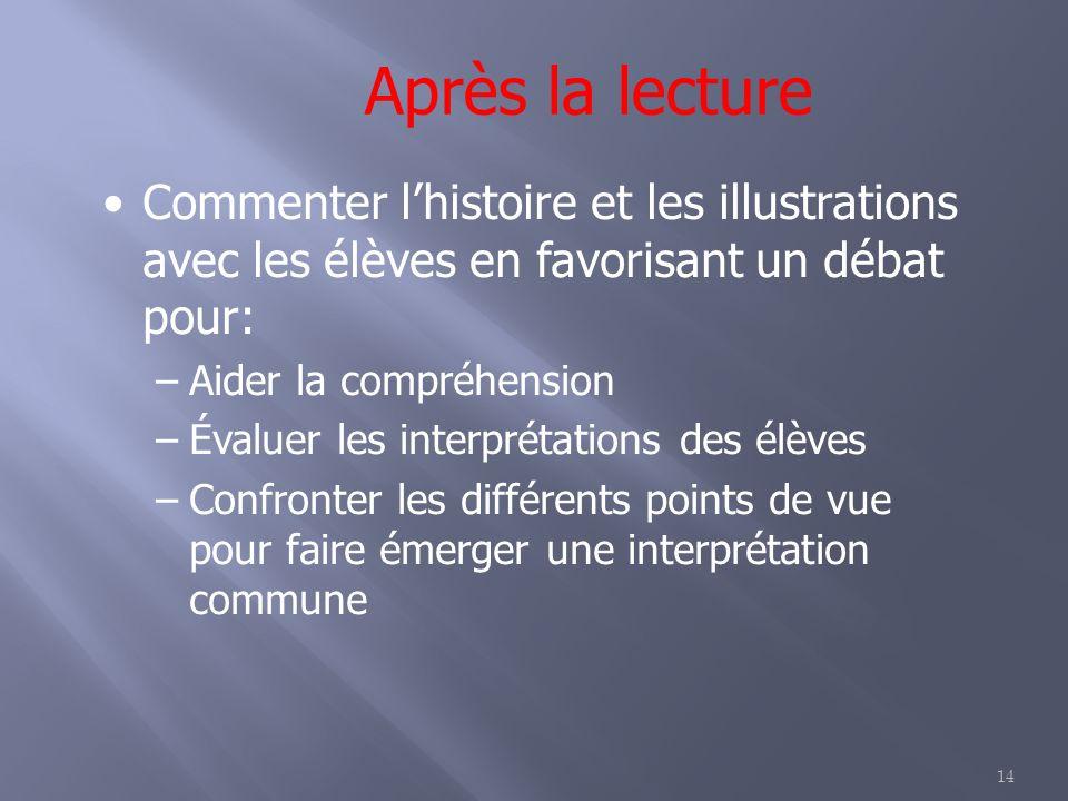 14 Après la lecture Commenter lhistoire et les illustrations avec les élèves en favorisant un débat pour: –Aider la compréhension –Évaluer les interpr