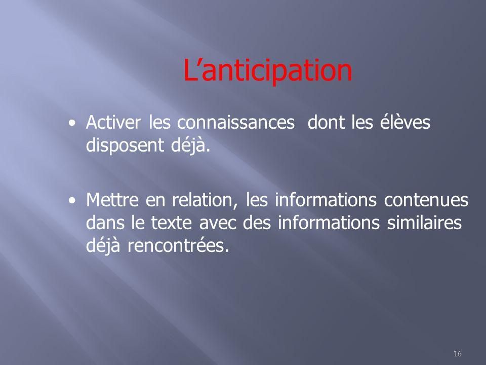 16 Lanticipation Activer les connaissances dont les élèves disposent déjà. Mettre en relation, les informations contenues dans le texte avec des infor