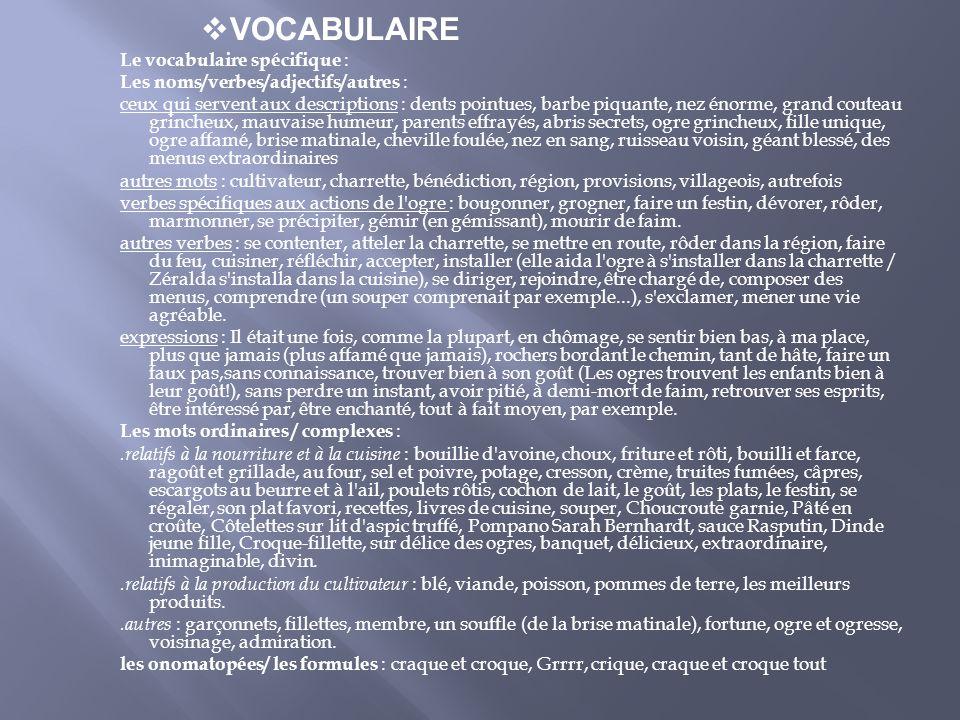 VOCABULAIRE Le vocabulaire spécifique : Les noms/verbes/adjectifs/autres : ceux qui servent aux descriptions : dents pointues, barbe piquante, nez éno