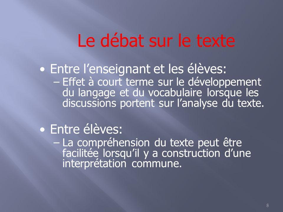8 Le débat sur le texte Entre lenseignant et les élèves: –Effet à court terme sur le développement du langage et du vocabulaire lorsque les discussions portent sur lanalyse du texte.