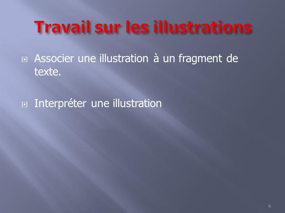 9 Associer une illustration à un fragment de texte. Interpréter une illustration