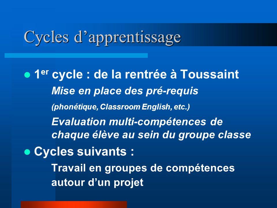 1 er cycle : de la rentrée à Toussaint Mise en place des pré-requis (phonétique, Classroom English, etc.) Evaluation multi-compétences de chaque élève