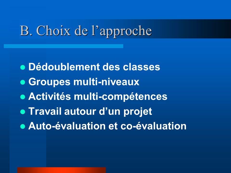 B. Choix de lapproche Dédoublement des classes Groupes multi-niveaux Activités multi-compétences Travail autour dun projet Auto-évaluation et co-évalu