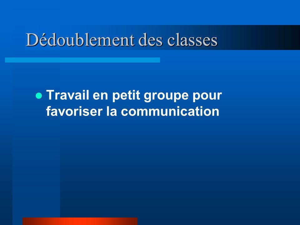 Travail en petit groupe pour favoriser la communication Dédoublement des classes