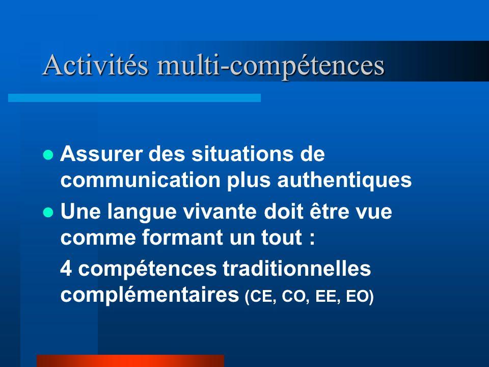 Assurer des situations de communication plus authentiques Une langue vivante doit être vue comme formant un tout : 4 compétences traditionnelles complémentaires (CE, CO, EE, EO) Activités multi-compétences