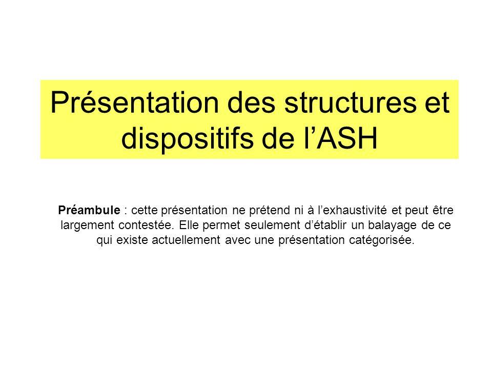 Présentation des structures et dispositifs de lASH Préambule : cette présentation ne prétend ni à lexhaustivité et peut être largement contestée. Elle
